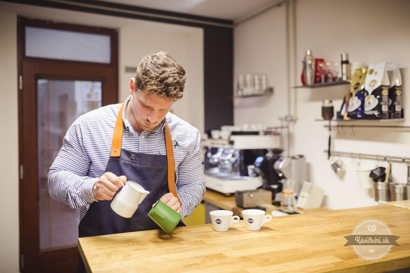 šimon staš dodávateľ kávy bazzara príprava capuccino